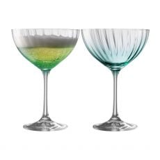 Galway Crystal Erne Aqua Set of 2 Champagne Saucers