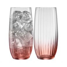 Galway Crystal Erne Blush Set of 2 Hiball Glasses