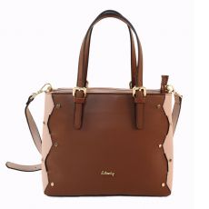 Gionni Adj Straps Tote With Interlaced Feature Brown