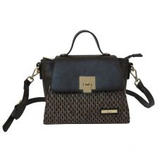 Gionni Carcassone Weaved Front Panel Top Handle Crossbody Bag Black