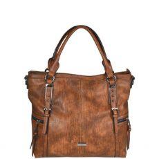 Gionni Cerise Side Zipper Top Handle Tote Bag Brown