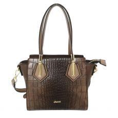 Gionni Double Handle Croc Crossbody Bag Brown