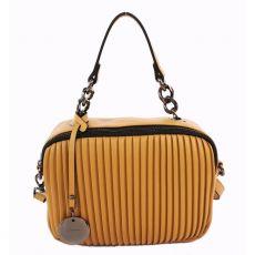 Gionni Dual Comp Ribbed Box Bag Mustard
