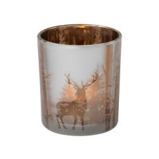 Glass Candle Holder with Stag