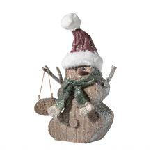 Glitter Wood Snowman Figurine