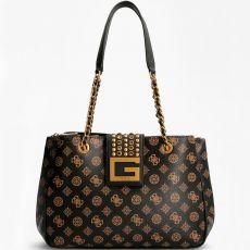 Guess Bling 4g Logo Stud Brown Tote Bag