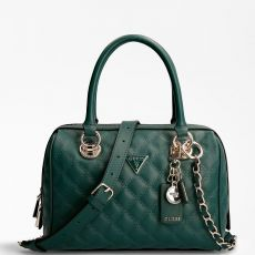 Guess Cessily Quilted Forest Green Box Handbag