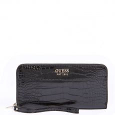 Guess Katey Croc Print Black Maxi Wallet