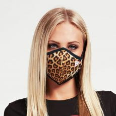 Guess Leopard Print Adult Face Covering on model