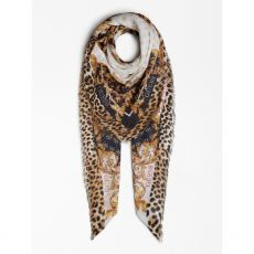 Guess Logo Animal Print Scarf Flat Shot
