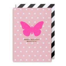 Pink Butterfly Happy Birthday Beautiful Greeting Card
