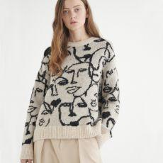 InWear Tessa Abstract Print Pullover Stone model