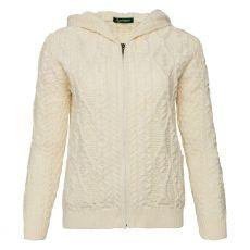 Irelands Eye Ash Aran Zipped Hooded Jacket