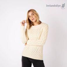 Irelands Eye Natural Spindle Aran Sweater model