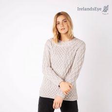 Irelands Eye Silver Marl Spindle Aran Sweater