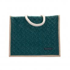 Aran Knitted Wool Cable Bag Green