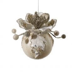 Ornate Ivory Magnolia Ball Decoration