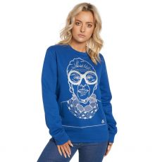 Jill & Gill Iris Apfel Blue Sweater model front view