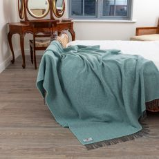 John Hanly Duck Egg Herringbone Bed Throw