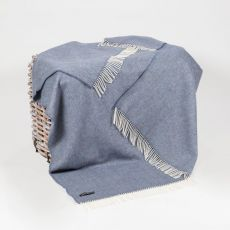 John Hanly  Blue Herringbone Throw