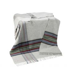 John Hanly Cashmere Grey Border Plaid Throw