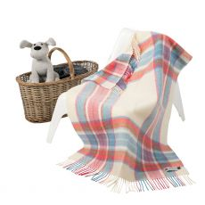 John Hanly Cashmere Pink/Blue Check Baby Blanket