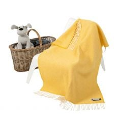 John Hanly Cashmere Yellow Baby Blanket