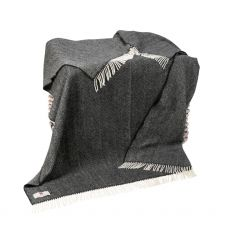 John Hanly Charcoal Herringbone Cashmere Throw