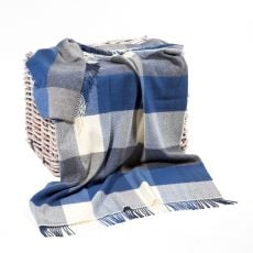 John Hanly Check Blue/Grey Herringbone Throw