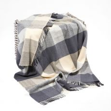 John Hanly Check Grey/Blue/Beige Throw