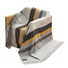 John Hanly Grey Mix & Mustard Stripe Throw