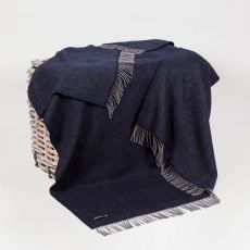 John Hanly Herringbone Navy Throw
