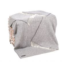 ohn Hanly Mid Grey Herringbone Throw