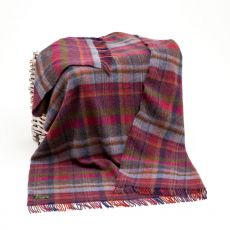 John Hanly Pink/Navy/Orange Plaid Blanket