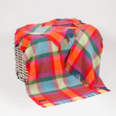 John Hanly Yellow/Pink/Blue Check Cashmere Throw