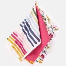 Joules Set of 3 Floral & Stripe Tea Towels