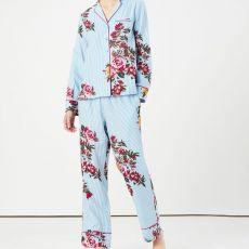Joules Sleeptight Light Pyjama Set Blue Stripe Florals