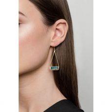 Juvi Manhattan Silver Green Tourmaline Swing Earrings