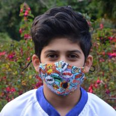 Kids Comic Boom Face Mask