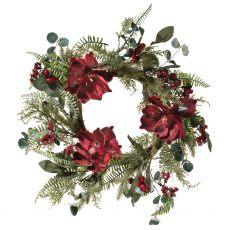 Large Magnolia Burgundy Wreath