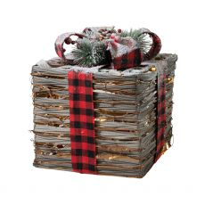 Large Natural Christmas Gift Box with Lights