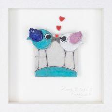 Rebeka Kahn 'Love Birds' 26cm x26 cm