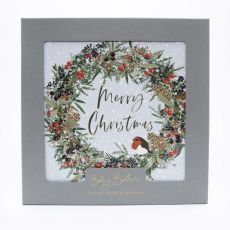 Set of 8 Luxury Christmas Cards - Wreath & Robin