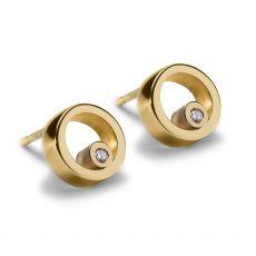 Maureen Lynch Circles Gold Diamond Stud Earrings