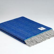 McNutt of Donegal Wool Throw Martha Royal Blue Super Soft