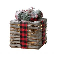 Medium Natural Christmas Gift Box with Lights