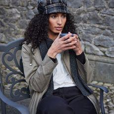 Mucros Weavers Newsboy Ladies Balck/Camel Hat