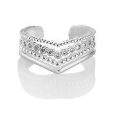 Newbridge Wishbone Ring With Clear Stones