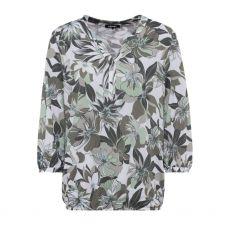 Olsen Abstract Floral Print Khaki Blouse