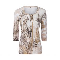 Olsen Animal Print 3/4 Sleeve Top